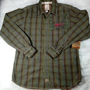 Red Camel 31 Boys L Button Front Green Plaid Shirt
